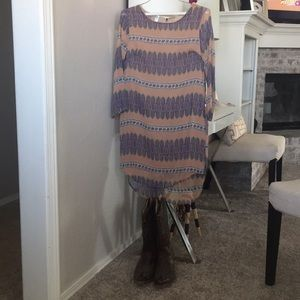 Three quarter sleeve brown and purple dress